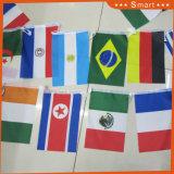 끈 국제적인 끈에 장식적인 깃발은 모든 국가를 표시한다
