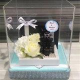 Casos de indicador acrílicos luxuosos do plexiglás da caixa de indicador do presente da flor