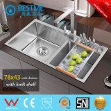 Gootsteen de van uitstekende kwaliteit van de Keuken van Roestvrij staal 304 met Mixer 6543b