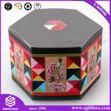 Caixa de presente feita sob encomenda do teste padrão dos retalhos com a caixa de empacotamento do Hamper do papel do hexágono da tampa