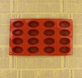 Moulage ovale de biscuit de savon de gâteau de silicones de forme de 16 cavités
