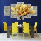 5パネルの居間Kn-241のためのHDによって印刷される塗る金花のキャンバスのホーム装飾の壁の芸術映像