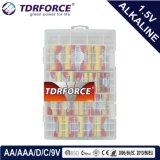 Pile alcaline primaire 1.5volt sec avec ce/ISO 24pcs en PVC case (D/C/AA/AAA/9V)