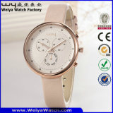 Orologio su ordinazione delle signore del quarzo della cinghia di cuoio di OEM/ODM (Wy-091A)