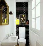 黒の3X6inch/7.5X15cm艶をかけられた斜めの陶磁器の壁の地下鉄のタイルの浴室または台所装飾
