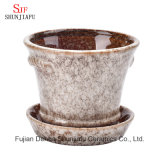 Maceta baja de cerámica del Succulent del conjunto serial del esmalte del plantador del envase que fluye