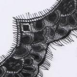 Tessuto femminile nero del ciglio del testo fisso del merletto del tessuto del panno