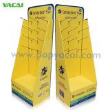 Soporte de visualización del estante de la cartulina, rectángulo acanalado del cartón de la visualización de la bandeja del suelo