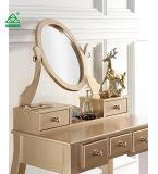 Roundhill Möbel Ashley hölzerner Verfassungs-Eitelkeits-Tisch und Schemel-Set, Gold