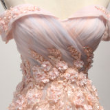 Платье вечера мантии выпускного вечера -Плеча розовое отбортовывая