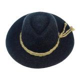 Chapeau noir de position de couleur avec la corde de paille