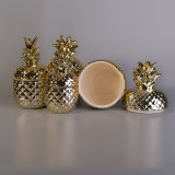 Envase de cerámica de electrochapado de la vela de la piña del oro