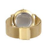 Relógio de pulso luxuoso de quartzo do aço inoxidável do ouro da alta qualidade para o presente do Natal (DC-1387)