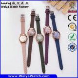Вскользь wristwatches случая сплава OEM вахты кожаный планки кварца (WY-114C)