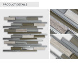 Nuevo azulejo de mosaico de piedra de cristal gris diseñado de la tira irregular barata
