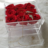 Roses를 위한 아크릴 Preserved Fresh Flower Box