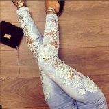 Jeans van de Vrouwen van de Broek van het Denim van de Rek van de Kanten van het Kant van de herfst de Nieuwe Stikkende