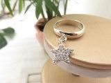 El complemento suena el anillo cristalino de la hembra de la estrella de la joyería