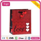 Bolsas de papel románticas del regalo de los cosméticos del corazón del amor del día de tarjeta del día de San Valentín