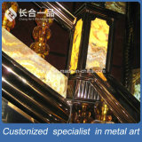 Kundenspezifisches Edelstahl-Bronzen-Goldluxuxtreppen-Geländer für Innen