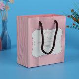 Saco de compra de papel personalizado do logotipo da cor impressão cor-de-rosa