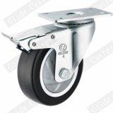 5 인치 까만 폴리우레탄 바퀴 브레이크를 가진 중간 의무 회전대 피마자 바퀴