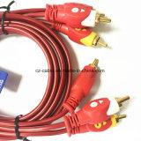 Moldeado 3*3*Macho a RCA macho RCA Cable de interconexión a/V para el equipo/Television/reproductor de CD/DVD/MP3/Sonido Profesional Speakercable Cuadro, el cable coaxial
