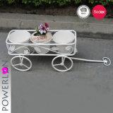 Сметанообразно - белый держатель плантатора Handcart утюга с колесом