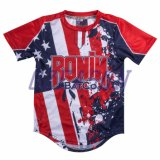 カスタマイズされた方法スポーツ・ウェアによって昇華させる印刷の女性の野球のTシャツ(B021)