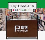 Supermercado de acero reforzado mesa de promoción con la publicidad