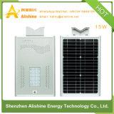 15W tutto in un indicatore luminoso di via solare Integrated del LED con la batteria LiFePO4