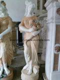 Закат красным мрамором Карвинг красивых девушек каменные скульптуры статуи