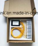 De Optische PLC van de vezel 1X16 Splitser van de Plastic Doos voor de Toepassing van de Radio en van het Netwerk en LAN, kabeltelevisie