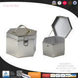 Цилиндр Six-Side большое кожаное Silvery косметический составляют ящик для хранения (8775)