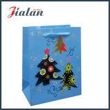 Bolso impreso barato del regalo de las compras del diseño del árbol de navidad del papel revestido