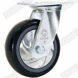 Hochleistungs-PU-örtlich festgelegte Fußrolle (Schwarzes) (runde Oberfläche) (G4204D)