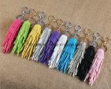 Comercio al por mayor moda colorida pila Borla llavero de cuero