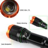 S13 350 lúmenes de xm-L LED T6 Zoom de la luz de linterna LED recargable