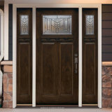 Curved Top Black Walnut Solid Wood Front Main Entrance DOOR Doors with Sidelight