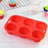 Чашки выпечки силикона качества еды многоразовые 6 круглых прессформ пирожня полостей