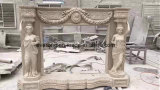 꽃을%s 가진 Statue Carved Marble Fireplace 란 숙녀