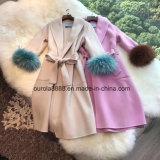 Senhoras Lã Moda Casaco com peles com pêlo