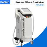 Heiße verkaufen2 in 1 Dioden-/Diodo Laser-Haar-Abbau der Einheit-808nm, Q schielten Nd YAG Laser-Tätowierung-Abbau-Maschine für Verkauf
