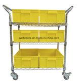 تجاريّة مصنع 3 صفح قابل للتعديل كروم سلك فولاذ منفعة ترفيف حامل متحرّك عربة مع عجلات