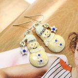 Mini-rhinestone étoiles charmant Bonhomme de neige noël émail Drop Earrings