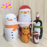 Personalizar el Santa Claus Matryoshka muñecas de anidación de Navidad de madera para niños W06D105.