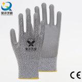 Отрежьте уровень покрынный PU безопасности сопротивления упорный перчатки 5