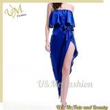 Vestidos de partido azuis do fora-Ombro da tela extravagante do cetim para a mulher