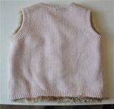 Тельняшка свитера младенцев безрукавный связанная с кнопкой
