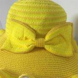 100% бумаги соломенной шляпе, Мода Стиль Floppy с лентой и Bowknot Украшение